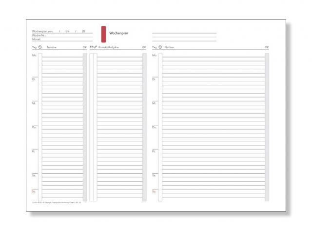 A5 Formblatt Wochenplan undatiert