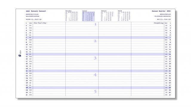 Monatsplaner (2020-2021) für A5 Executive-Systeme